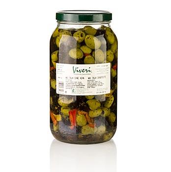 Zelené a černé olivy, marinované kořeněné, bez pecky, Viveri, 3,0 kg