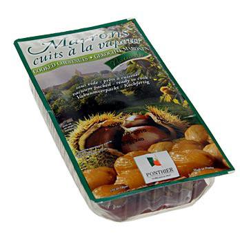 Kaštany, oloupané, vařené a vakuově balené, Ponthier, 12x500 g