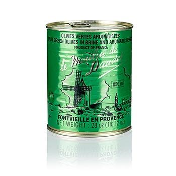 Zelené olivy s peckou, s provensálskými bylinami, 800 g