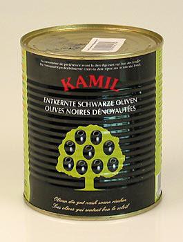 Černé olivy, bez pecky, (černěné), 850 g