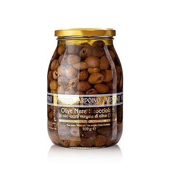Černé olivy bez pecky, v oleji s bobkovým listem, Ardoino, 930 g