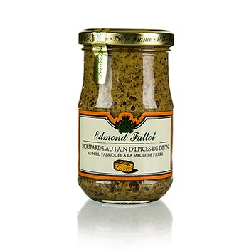 Dijonská hořčice s kořeněným chlebem a medem, hrubozrnná, Fallot, 190 ml