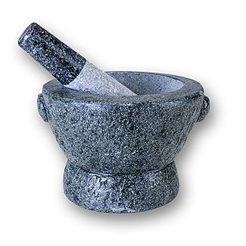 Kamenný hmoždíř, vnější o 19,5cm, vnitřní O 14cm, 13,5cm vysoký, asi 8,8 kg, ks