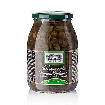 Černé olivy bez pecky, v oleji s bobkovým listem, od Casa Rinaldi, 880 g
