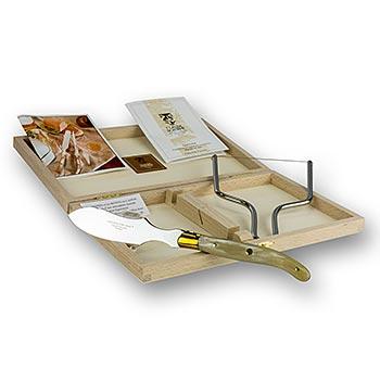Nůž na játra Foie gras/tmavá rohovina a gilotina s drátem, v dřevěné krabici, Laguiole model, ks