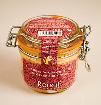 Kachní játra - Entier, s fíky, 100 % Foie Gras, Rougié, 180 g