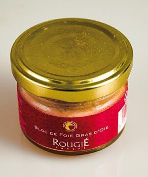 Kachní játra blok, 98% játra foie gras, Rougié, 50 g