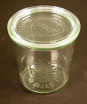 Zavař. sklenice k vyklop., průměr 100 mm, 100 mm vys., 500 ml, bez spon a gumičky, Weck, ks