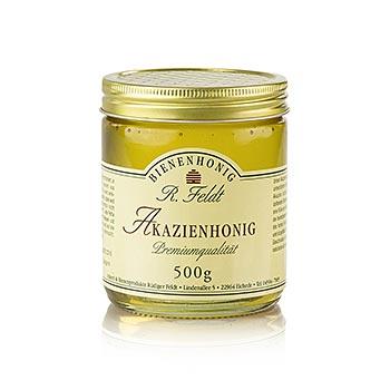 Akátový med, Maďarsko, barva champagne, tekutý, jemný-sladký, dobrý pro slazení, 500 g