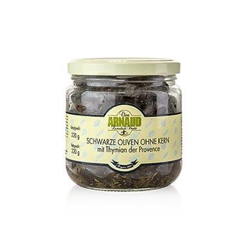 Černé olivy bez pecky, s tymiánem, od Arnaud, 220 g
