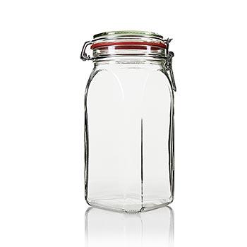 Zavařovací sklenice s pérem - Bocal 1,5 litr, čtvercová, ks