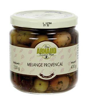 Směs oliv, Melange Provencal, s tymiánem, v oleji, s peckou, od Arnaud, 430 g