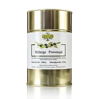 Směs oliv, Melange Provencal, s tymiánem, v oleji, s peckou, od Arnaud, 2,75 kg
