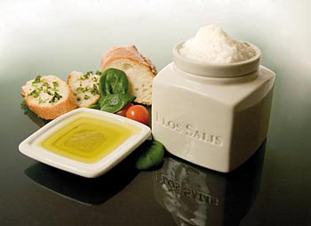 Stolní sůl - nádobka 'Flos Salis', sada, 225g nádobka Flor de Sal + miska na olivový olej jako dip, Set