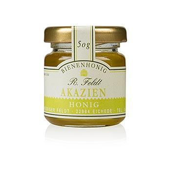 Akátový med, Maďarsko, barva champagne, tekutý, jemný-sladký, porce ve sklenici, 50 g
