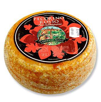 Pecorino Rosso, ovčí sýr s červenou kůrkou (Rajský protlak), asi 6 měsíců starý, 1,2 kg