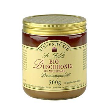 Bush med, Nový Zéland, zlatě zbarvený, krémový, tuhý, aromatický, BIO-certifikovaný, 500 g