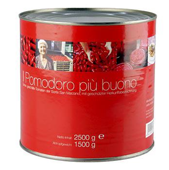 San Marzano rajčata, celá loupaná, červená, z Kampánie/ Itálie, 2,5 kg