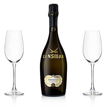 Sansibar´s Best San Simone Prosecco Brut 0,75 l + 2 skleničky na šampaňské s logem, sada