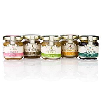Set 5 vybraných medů , 5 x 50 g, 1 x Avokádový, 1 x Manuka, 1 x Med z květů kávovníku, 1 x Med z džungle a 1x Rakytník v medu